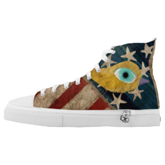Stars and Striped yellow bird Printed Shoes