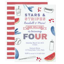 Stars and Stripes 4th Birthday Baseball Party Invitation