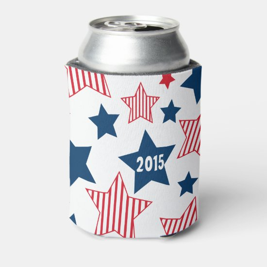 Stars and Stripes 4th of July Can Cooler