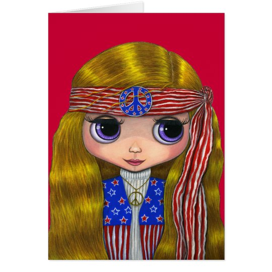Stars and Stripes 4th of July Hippie Card