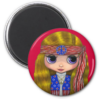 Stars and Stripes 4th of July Hippie Magnet