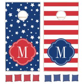 Stars and Stripes 4th of July Monogram Cornhole Sets