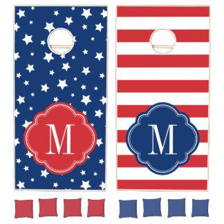 Stars and Stripes 4th of July Monogram Cornhole Set