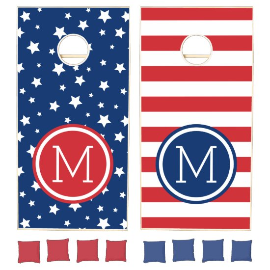 Stars and Stripes 4th of July Monogram Cornhole Set