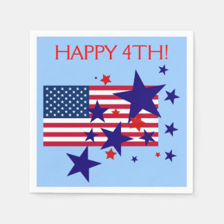 Stars and Stripes 4th of July USA Flag on Blue Disposable Napkin