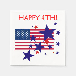 Stars and Stripes 4th of July USA Flag on White Disposable Napkins