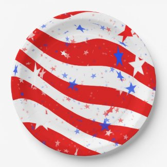 Stars and Stripes Abstract 9 Inch Paper Plate