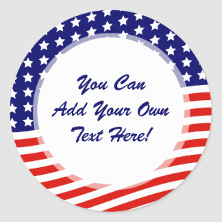 Stars and Stripes American Flag July 4th Classic Round Sticker