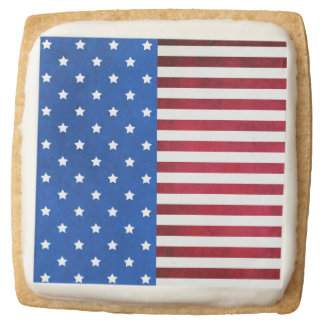 Stars And Stripes-American Flag Square Premium Shortbread Cookie