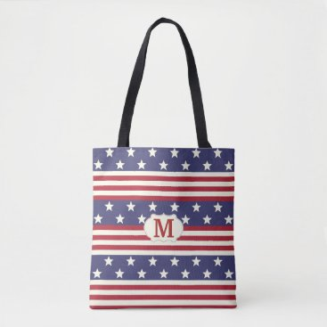 USA Themed Stars and Stripes American Flag Patriotic Monogram Tote Bag
