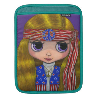 Stars and Stripes American Hippie Chick Doll Sleeve For iPads