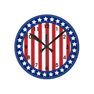 Stars and Stripes Americana Pattern Round Clock