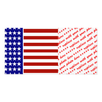 Stars and Stripes Background Customized Photo Card