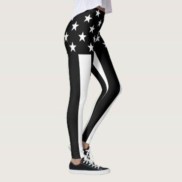 USA Themed Stars and Stripes Black and White Decor Leggings