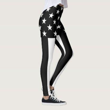 USA Themed Stars and Stripes Black and White Decor on Leggings