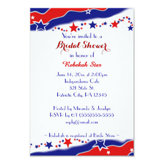 "Stars and Stripes Bridal Shower 3.5"" X 5"" Invitation Card"