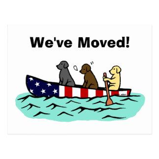 Stars and Stripes Canoeing Labradors New Address Postcard