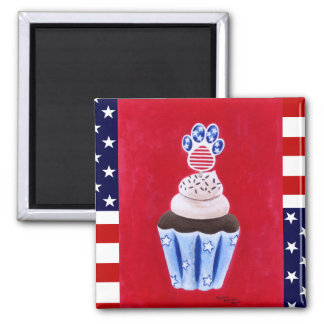 Stars and Stripes Cupcake for Animal Lovers 2 Inch Square Magnet