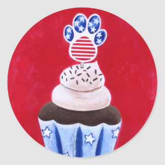 Stars and Stripes Cupcake for Animal Lovers Classic Round Sticker