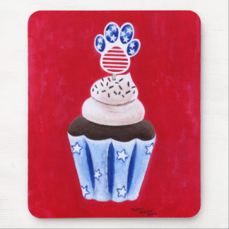 Stars and Stripes Cupcake for Animal Lovers Mousepads