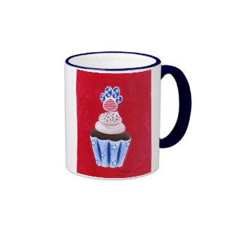 Stars and Stripes Cupcake for Animal Lovers Ringer Coffee Mug