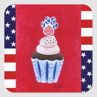 Stars and Stripes Cupcake for Animal Lovers Square Sticker