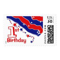 Stars and Stripes CUSTOM FIRST BIRTHDAY Postage