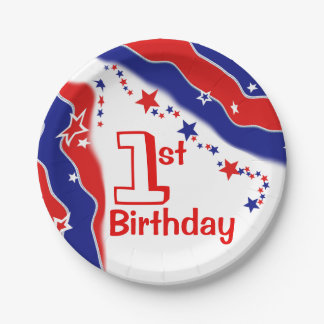 Stars and Stripes Custom FIRST BIRTHDAY 7 Inch Paper Plate