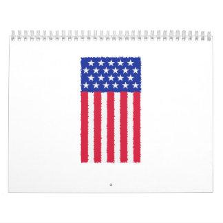 Stars and stripes flag calendar
