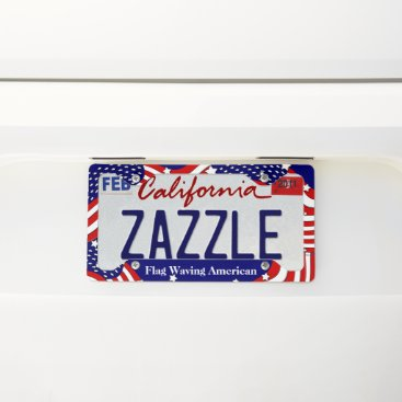 USA Themed Stars and Stripes Flag Waving American Custom License Plate Frame
