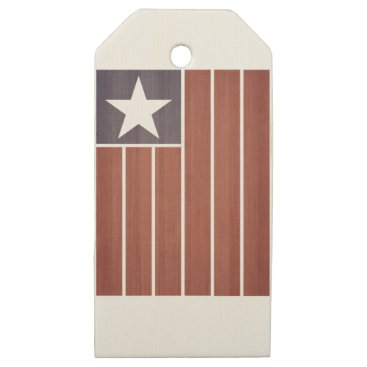 USA Themed Stars And Stripes Flag Wooden Gift Tags