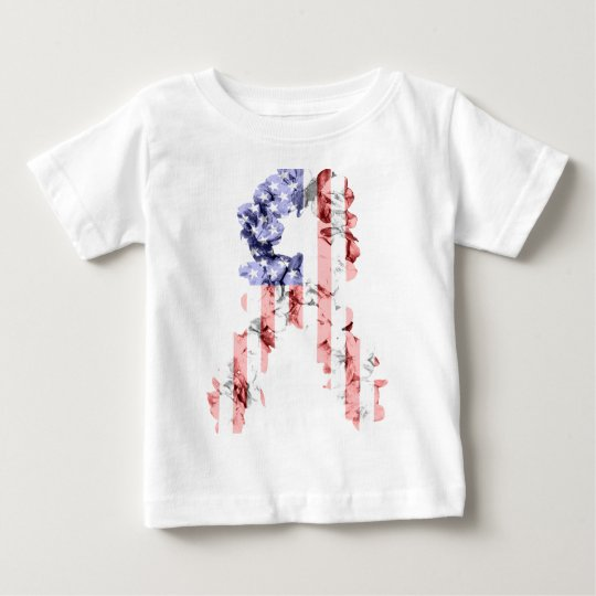 Stars and Stripes Flower Ribbon Baby T-Shirt