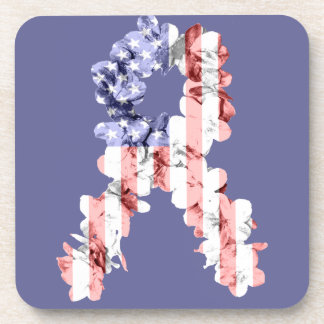 Stars and Stripes Flower Ribbon Drink Coaster