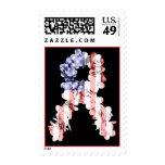 Stars and Stripes Flower Ribbon Postage Stamp