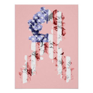 Stars and Stripes Flower Ribbon Poster
