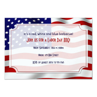 Stars and Stripes Forever Flag Labor Day 3.5x5 Paper Invitation Card