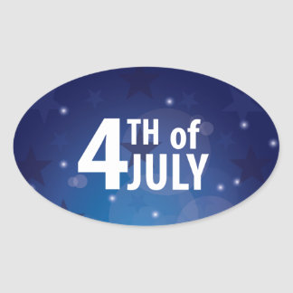 Stars and Stripes Fourth of July Oval Sticker