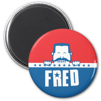 Stars and Stripes Fred 2 Inch Round Magnet