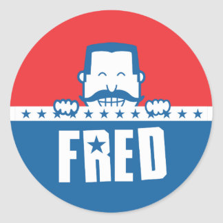 Stars and Stripes Fred Classic Round Sticker