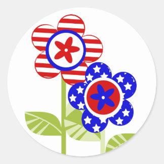 Stars and Stripes Garden Classic Round Sticker