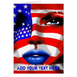 Stars and Stripes Girl's Portrait Greeting Card