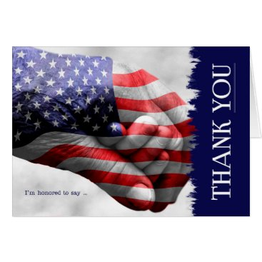 USA Themed Stars and Stripes Hand in Hand Thank YOU Blank Card