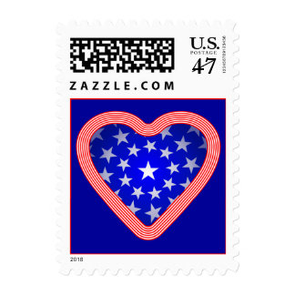 Stars and Stripes Heart Postage