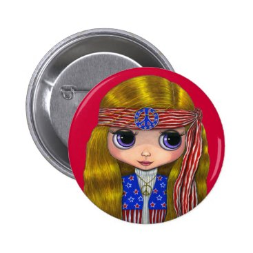 Blonde_Blythe Stars and Stripes Hippie 4th of July Button