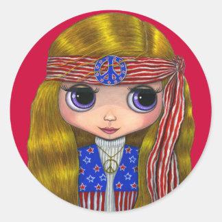 Stars and Stripes Hippie Sticker