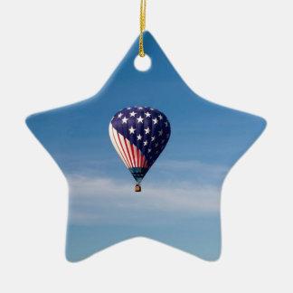 Stars and Stripes Hot Air Balloon Ride Ceramic Ornament