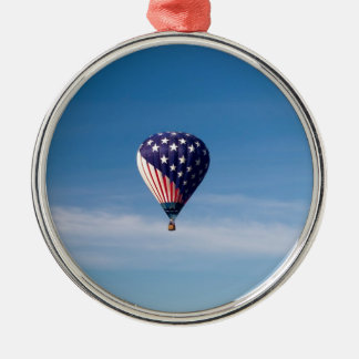 Stars and Stripes Hot Air Balloon Ride Round Metal Christmas Ornament