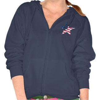 Stars and Stripes in Blue Hooded Sweatshirts