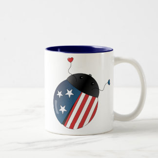 Stars and Stripes Ladybug Coffee Mugs