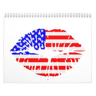 Stars and stripes lips kiss calendar